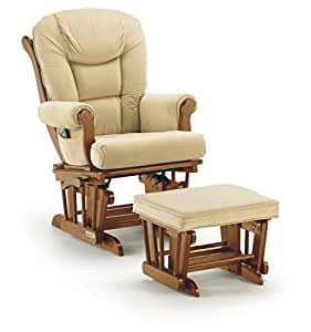 Shermag Contemporary Glider Rocker Combo with Lock, Chestnut/Pearl Beige (Discontinued by Manufacturer)