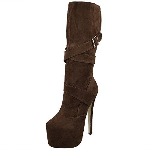 Womens Mid Calf Boots Strappy Buckle Platform Sexy High Heels Booties Brown 8