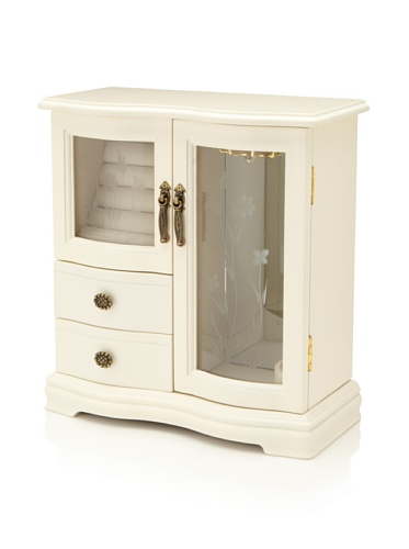 Nathan Direct Classic Dual Case Jewelry Box with 2 Drawers, Ringer Holders, and Necklace Hooks, Cream