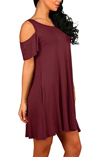 13200f9e488cb1 ... PCEAIIH Women s Summer Cold Shoulder Tunic Top Swing T-Shirt Loose  Dress with Pockets Red. Product 5103 5765. prev · Product List · next.  Model  ...