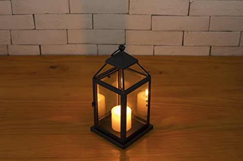 Gentle Space Outdoor & Indoor Black Lighthouse Decorative Candle Holder Lanterns 9.44''High Clear Iron & Glass Ideal Christmas Gift for Family, Friends without Candle by Gentle Space