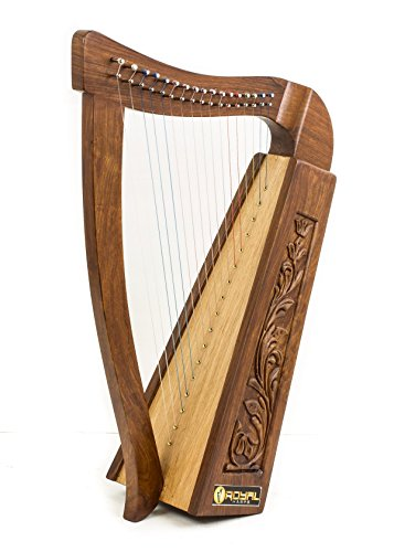 27 Inch Tall Celtic Irish Knee Harp 17 Strings Solid Wood Free Bag Strings Key by Royal