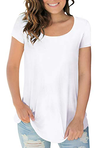 Sousuoty Womens Short Sleeve Tops Scoop Neck Tee Shirts for Teen Girls White XL