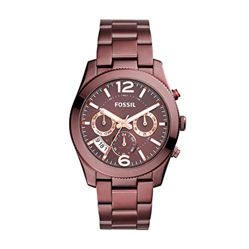 Fossil Women's Perfect Boyfriend Quartz Stainless Steel Chronograph Watch Color: Red (Model: ES4110)