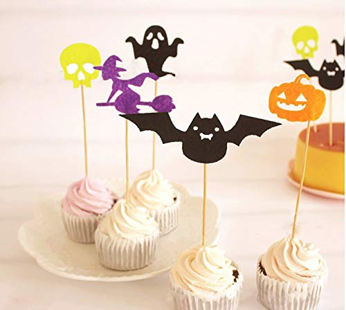 Antallcky 5pcs Halloween Cupcake Toppers Pumpkin Bat Witch Skull Ghost Cake Toppers- Baby shower Food Picks Decor And Cupcake Party Pick