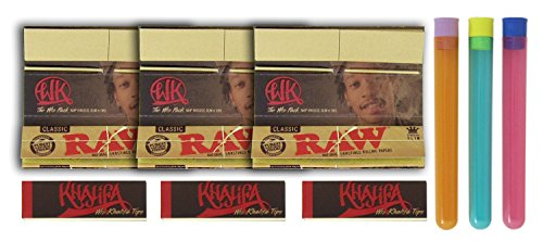 Bundle - 9 Items - 3 Packs Wiz Khalifa RAW Rolling Papers, 3 Tips and 3 Beamer Doob - Wiz Glass Khalifa