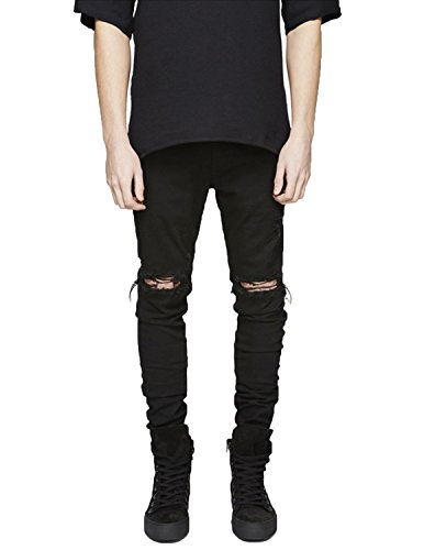 Pishon Men's Distressed Jeans Washed Stretchy Tapered Leg with Holes Ripped Jeans, Black, 34