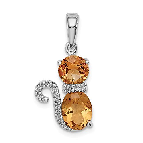 925 Sterling Silver Yellow Citrine Diamond Cat Pendant Charm Necklace Animal Fine Jewelry Gifts For Women For Her