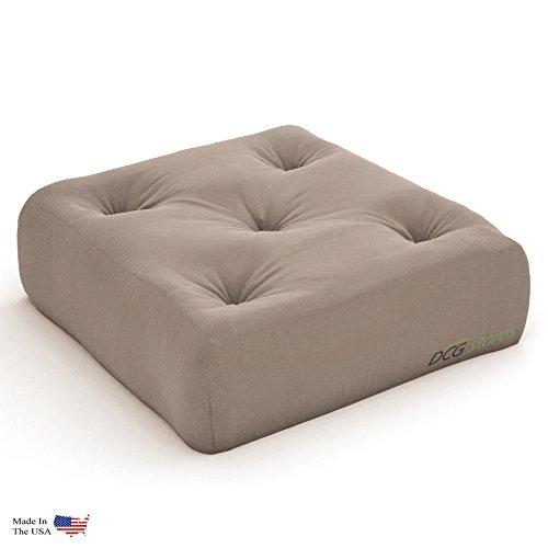 Extra Thick Premium 10-Inch Futon Chair Ottoman Mattress, Microfiber Khaki - Made in USA