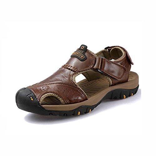 Shoes Outdoor 44 da Beach Sandali uomo Baotou Toe 1 Escursionismo Dimensione Sport Anti Uomo Leather Collision Colore Casual Sandali Outdoor estivi Fisherman Sport 2 Closed dZIwgg
