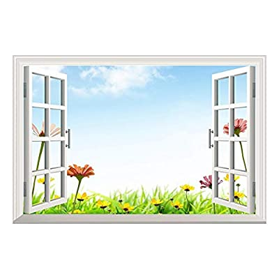 Daisy Flowers Under Blue Sky Open Window Mural Wall Sticker 36