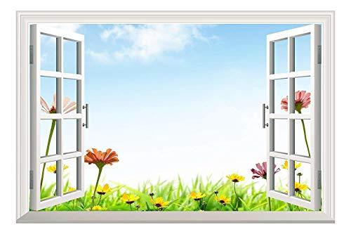 Daisy Flowers under Blue Sky Open Window Mural Wall Sticker - 36