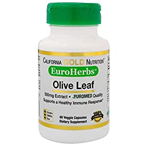 California Gold Nutrition, Olive Leaf Extract, EuroHerbs, 500 mg, 60 Veggie Capsules
