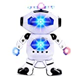 Alagoo Electronic Toy Robot Walking Dancing Singing Robot with Musical and Colorful Flashing Lights 360° Body Spinning Robot Toy Gift for Kids, Boys and Girls (White)