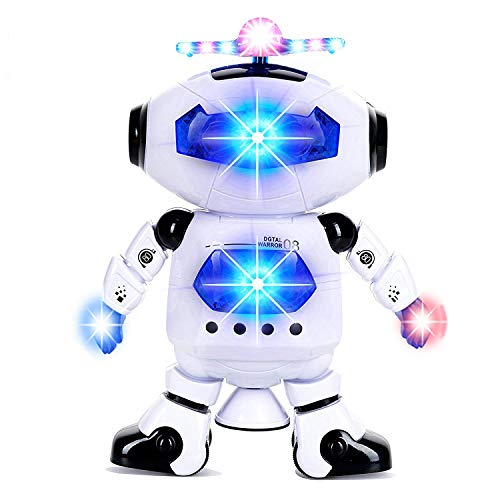 (Alagoo Electronic Toy Robot Walking Dancing Singing Robot with Musical and Colorful Flashing Lights 360° Body Spinning Robot Toy Gift for Kids, Boys and Girls (White))