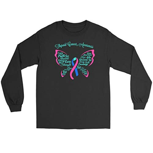 Teal Pink & Blue Ribbon Butterfly Thyroid Cancer Awareness Gift Long Sleeve