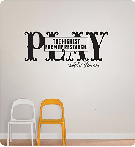 25 Play The Highest Form of Research Albert Einstein Classroom School Science Kids Children Wall Decal Sticker Art Mural Home Dcor Quote
