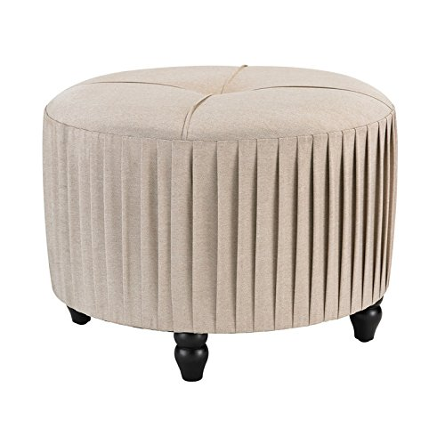 Pleated Ottoman in Natural Linen Finish