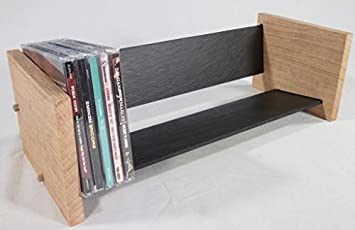 Solid Oak And Natural Slate Cd Rack Modern Amazoncouk Electronics