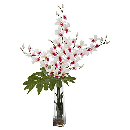 Dendrobium Silk Orchid Arrangement - Nearly Natural 1646-WH Dendrobium Tropical Orchid Artificial Vase Silk Arrangements, White