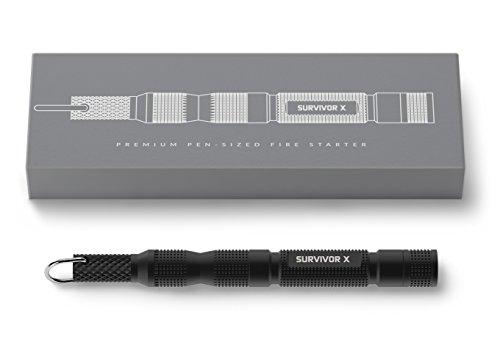 SURVIVOR-X-Magnesium-Fire-Starter-Ultra-Compact-Pen-Sized-Firestarter-with-Flint-Striker-Must-Have-in-Emergency-Zombie-Survival-Gear-Kit-5500F-Hot-Spark-Premium-Gift-Ready-Packaging