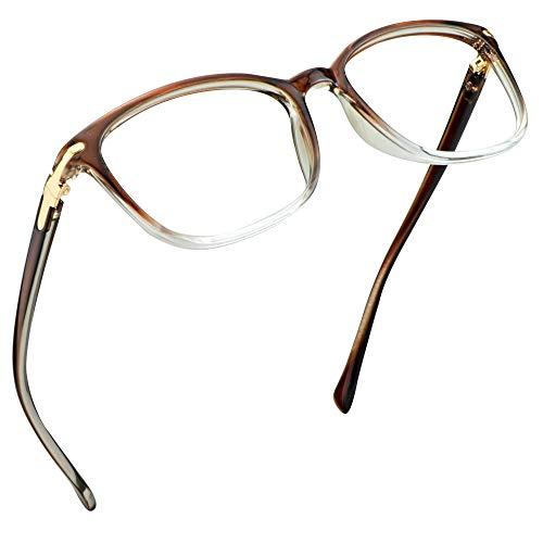 LifeArt Blue Light Blocking Glasses, Anti Eyestrain, Computer Reading Glasses, Gaming Glasses, TV Glasses for Women Men, Anti Glare (Clear Brown, No Magnification)