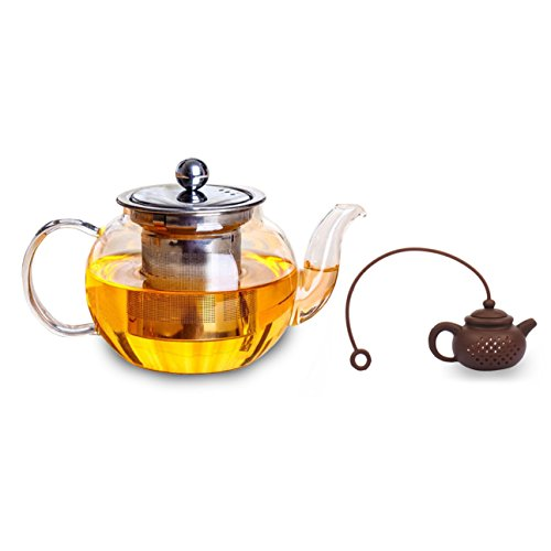The Kawaii Borosilicate Glass/Stainless Steel Teapot Plus Bonus Adorable Silicone Infuser by SunKewl. 27oz/800ml