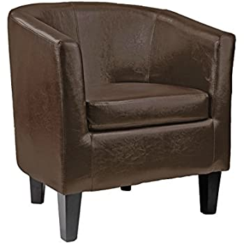 CorLiving LAD-789-C Antonio Tub Chair in Dark Brown Bonded Leather