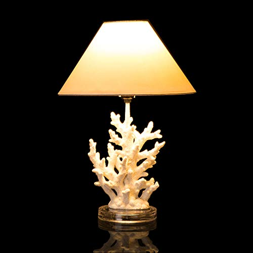 Glitzhome 19.29''H Coral Novelty Table Lamp-Farmhouse Marine Design with White T/C Shade Neutral Lampshade & Soft,Ambient Lighting Perfect for Living Room,Office (Table Lamp Novelty)