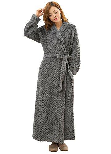 VI&VI Women's Luxurious Fleece Bath Robe Plush Soft Warm Long Terry Bathrobe Full Length Sleepwear, Gray, Small / Medium (Fleece Terry)