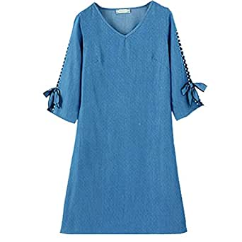 Dress, Large Size Women's Fat Mm Spring Cover Belly