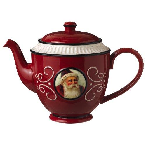 Grasslands Road Old World Santa Ceramic Teapot, 5-Inch, Red (Grasslands Road Teapot compare prices)