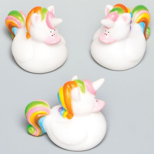 Rainbow Duck (Rainbow Unicorn Rubber Ducks Perfect Party Bag stuffer for Children to Play With (Pack of 4))