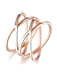 Mintik Jewelry Stainless Steel Womens Rose Gold X Criss Cross Long Hollow Ring Wedding Ring