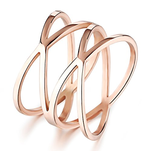 OPK Jewelry Personality Rose Gold X Criss Cross Long 14mm Woman Party Rings Band,Size 5-8