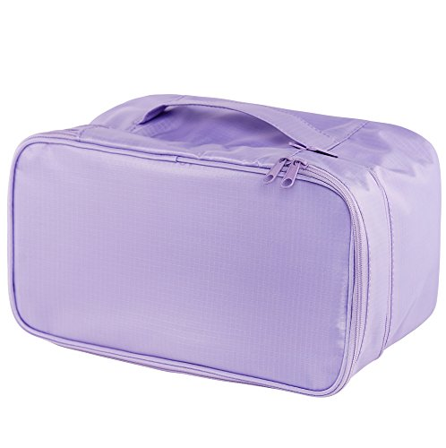 Travel Underwear Organizer Bag, JJ POWER Lightweight Double Layer Large Capacity Cosmetic Bag- Multiple Compartments and Pockets ()