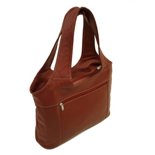 (Piel Leather Laptop Hobo, Red, One Size)
