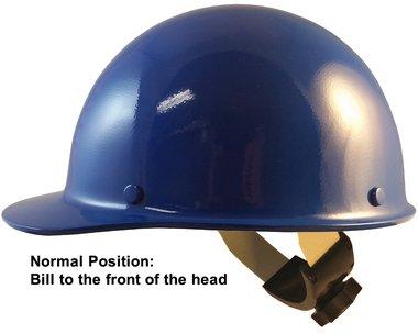 MSA Skull Guard Hard Hat - Fiberglass Cap Style With Swing Suspension -  Custom Blue Color