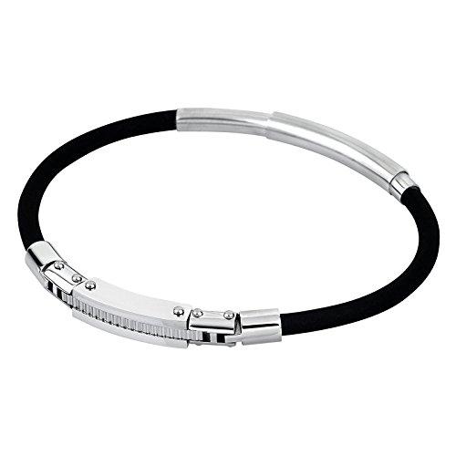 7931a5eb2bfe Lovely Lotus Style pulsera para hombre Men in Black-colección acero plata  negro PVD-