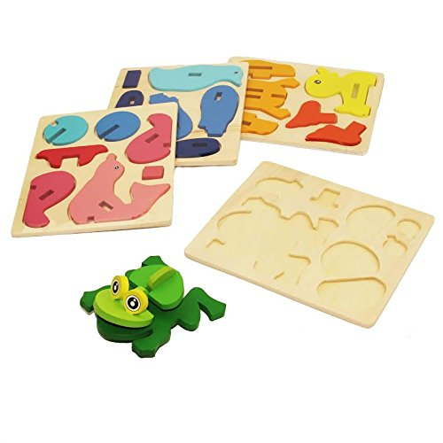 Dazzling Toys 3D Wooden Assemble Sea Animals, 4 pack