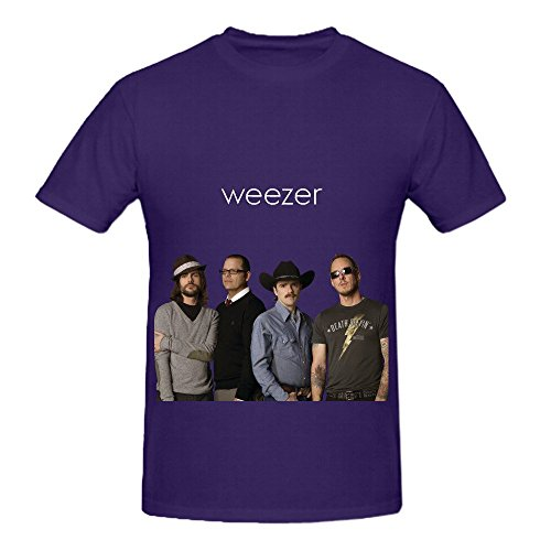 Price comparison product image Weezer Weezer (red Album) Tour Electronica Mens Crew Neck Design Shirt Purple