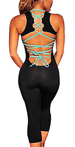 Sumtory Women Sport Jumpsuit Work Out Romper Sleeveless Bandeau Backless (Capri Bodysuit)