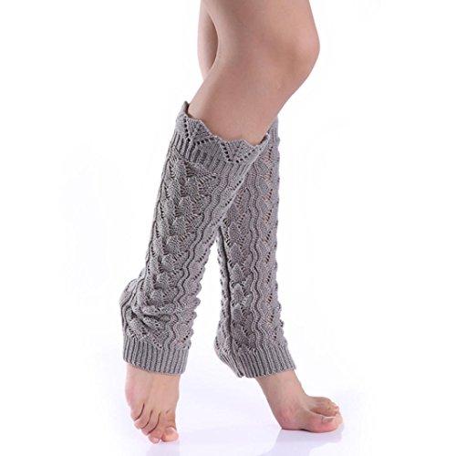 Oksale Women Winter Warm Crochet Knitted Boot Cover Cuffs Leg Warmers (Gray)