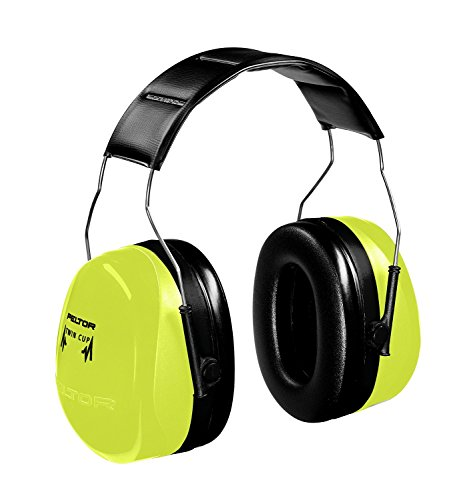 Earmuffs Hi Viz (3M (formerly Aearo) H10AHV Peltor Optime 105 High-Viz Green Over-The-Head Earmuffs with Liquid/Foam Earmuff Cushions, Plastic, 4.3
