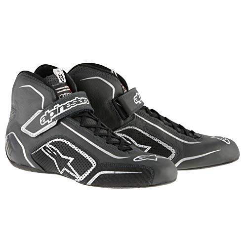 ALPINESTARS TECH 1-T SHOES - BLACK/ANTHRACITE - SIZE 9 - SFI 3.3 LEVEL 5/FIA - FULL-GRAIN LEATHER