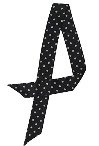 Lina & Lily Versatile Ribbon Scarf Necktie Headband Bag Tie Waist Belt (Polka dots-Black)