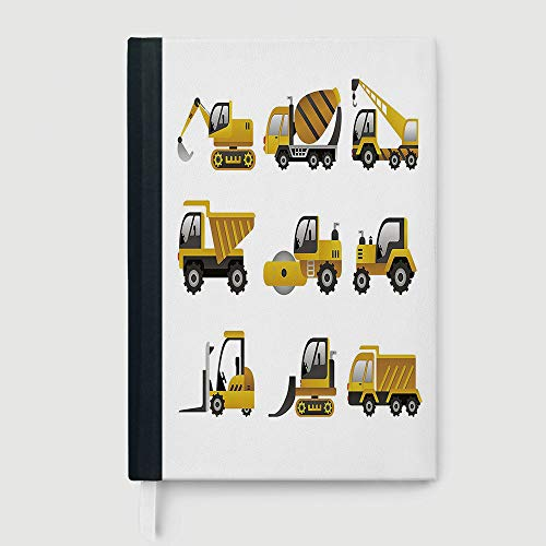 Big Book Clipart - Hardcover Executive Notebook,Construction,College Ruled Notebook/Composition/Journals/Dairy/Office Note Books,Big Vehicles Icon Collection Engineering Building Theme Clip Art Style Decorative,96 sheet