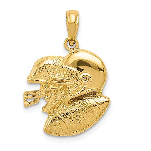 - Real 14kt Yellow Gold Polished Open-Backed Football Pendant