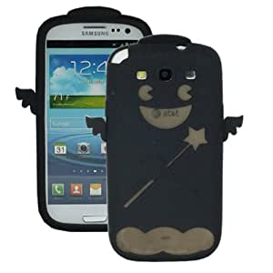 ASleek Black Soft Silicone Smiley Angel Rubber Case Cover for Samsung Galaxy S3 S III I9300