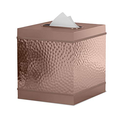 nu steel HSC9H Square Metal Paper Facial Tissue Box Cover Holder for Bathroom Vanity Countertops, Bedroom Dressers, Nightstands, Desks and Tables Copper Finish ()